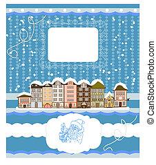 congratulazioni, inviti, houses., illustrazione, vettore, fondo, anno, christmas/new