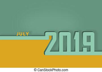 congratulazioni, luglio, pagina, mese, sagoma, anno, nuovo, calendario, 2019., presentazione, o