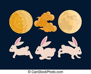 conigli, nubi, luna