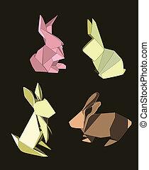 conigli, origami, set