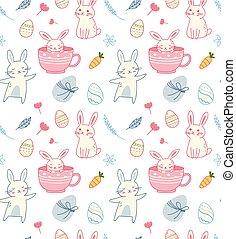 coniglio, pasqua, seamless, fondo, uovo, cartone animato