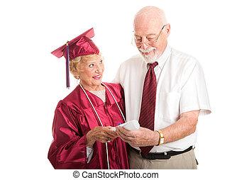 coniuge, orgoglioso, di sostegno, anziano, laureato