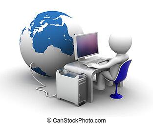connectet, lavorativo, globo, carattere, computer, 3d