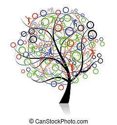connettere, persone, albero, web