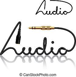 connettori, vettore, cricco, calligrafia, audio
