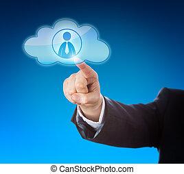 conoscenza, indicare, lavoratore, braccio, nuvola, icona