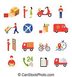 consegna, appartamento, set, icona
