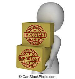 consegna, mostra, scatole, priorità, alto, importante, critico