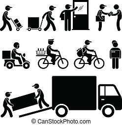 consegna, palo, postino, corriere, uomo