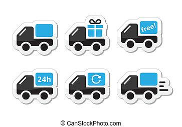 consegna, vettore, automobile, spedizione marittima, icone