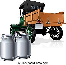 consegna, vettore, camion, retro, latte