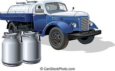 consegna, vettore, camion, retro, petroliera, latte