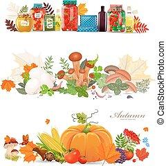 conserva, cibo, collezione, mushrooms., autunno, harv, profili di fodera