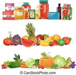 conserva, verdura, autum, collezione, cibo, profili di fodera, fruits.