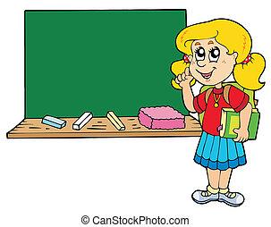 consigliare, ragazza, scuola, lavagna