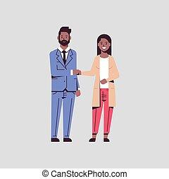 consoci, affari donna, appartamento, riunione, coppia, associazione, accordo, businesspeople, lunghezza, concetto, pieno, africano, scuotere, americano, mano, durante, handshaking, uomo
