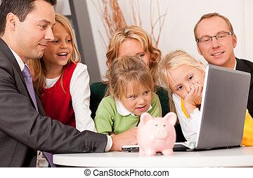 consulente, finanza, assicurazione, -, famiglia
