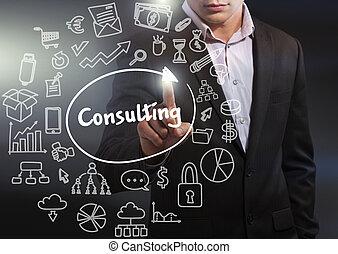 consulente, lavorativo, rete, affari, concept., tavoletta, virtuale, affari, futuro, tecnologia internet, display:, selezionare, uomo