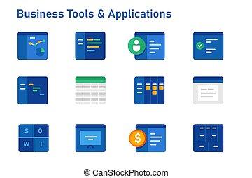 contabilità, calendario, affari, presentazione sociale, collezione, set, icona, modello, analytics, domande, software, finanziario, attrezzi
