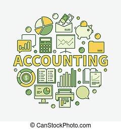 contabilità, colorito, rotondo, illustrazione