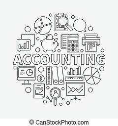 contabilità, rotondo, illustrazione, lineare