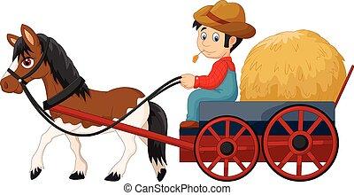 contadino, fieno, cartone animato, carrello