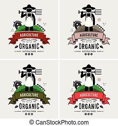 contadino, logotipo, agricoltura, design.