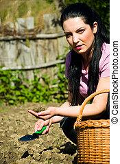 contadino, presa a terra, donna, suolo