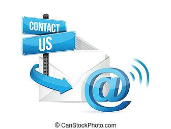 contatto, linea, email, ci, segno