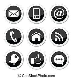contatto, media, sociale, web, icone