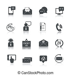 contatto, set, ci, servizio, icone