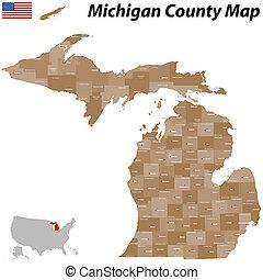 contea, mappa, michigan