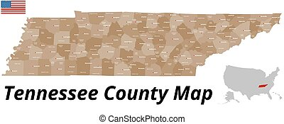 contea, mappa, tennessee