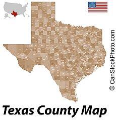 contea, mappa, texas
