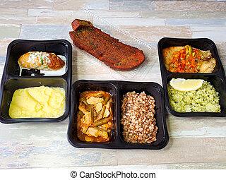 contenitori, plastica, delizioso, fondo., consegna, cibo, isolato, servizio