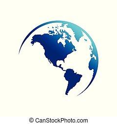 continente, america, globo, mappa