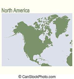 continente, america, nord, vettore, mappa