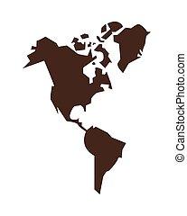 continente, geografia, icona, silhouette, americano