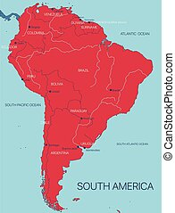continente, vettore, america, mappa, sud
