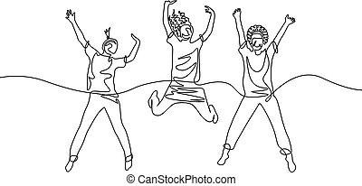 continuo, ragazze, tre, uno, saltare, rivestire disegno