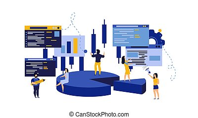 conto, dati, concetto, marketing, illustration., servizio, administration., report., statistico, verifica, persona, grafico, lavoro, analisi, tassa, persone, grafico, affari, consulente, budget, vettore, web, gestione finanziaria