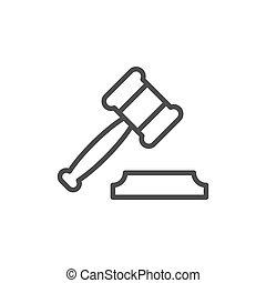 contorno, asta, giudice, martelletto, linea, martello, o, icona