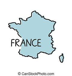 contorno, concept-, mappa, francia, vettore, illustrazione