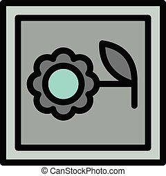 contorno, icona, macchina fotografica, fiore, stile, foto