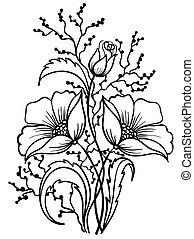 contorno, linee, disposizione, nero, white., fiori, disegno