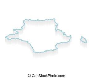 contorno, mappa, illustrazione, vettore, isometrico, francia, -