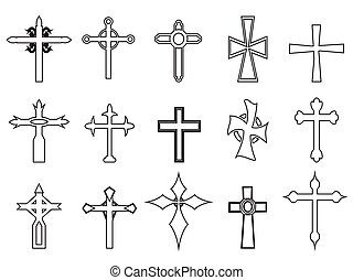 contorno, religioso, croce, icone