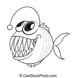 contorno, scarabocchiare, fish, denti animali, affilato