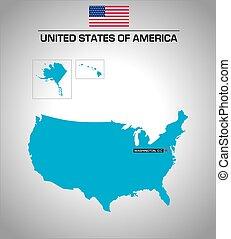 contorno, stati, semplice, vettore, mappa, unito, america, bandiera
