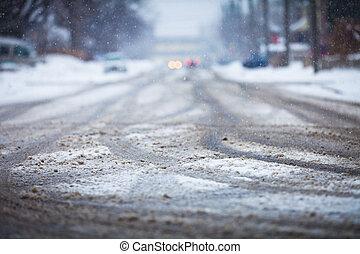 contrassegni, strada, ruote, innevato